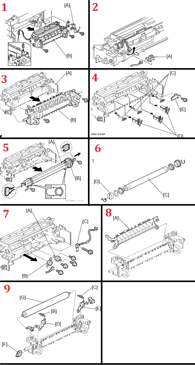 Savin 816F AE01-1086 Installation Instructions Upper Hot Roller